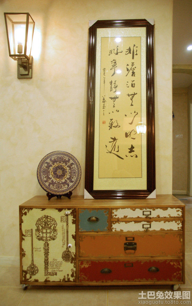 中式复古玄关摆件图片