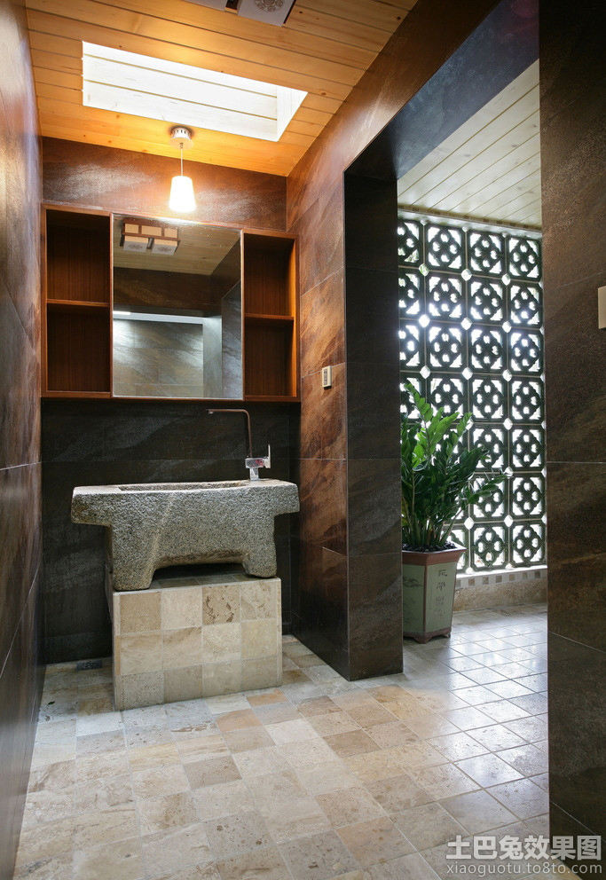 中式卫生间玄关地板砖贴图设计图片