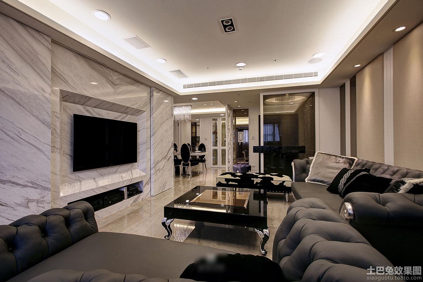 装修效果图 > 欧式风格二居室客厅大理石电视背景墙设计图片
