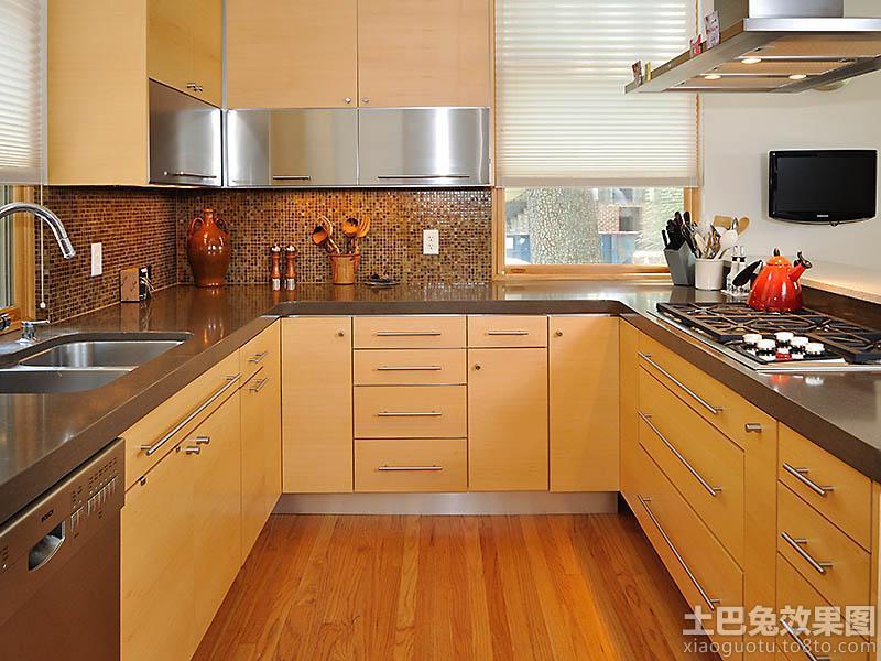 美式风格厨房实木橱柜不锈钢台面装修图片