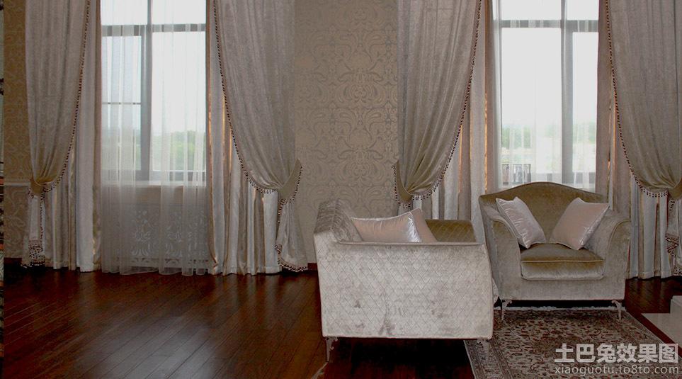 美式别墅窗帘图片2014图片