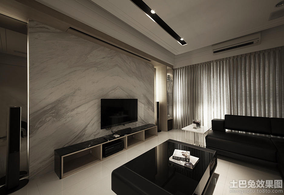 大理石客厅电视机背景墙图片