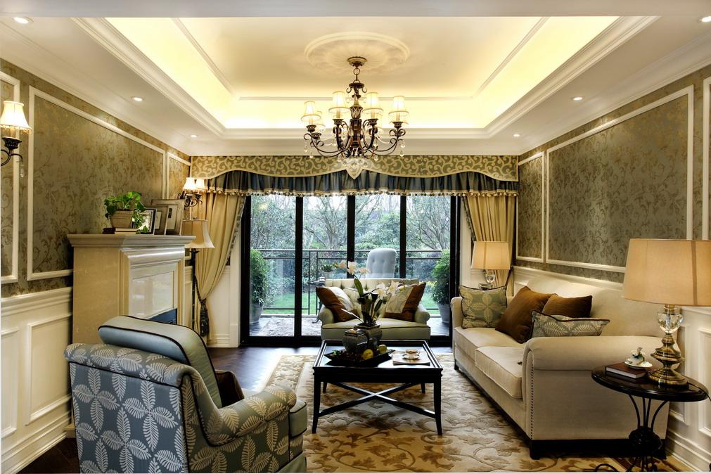 现代美式客厅吊顶效果图图片