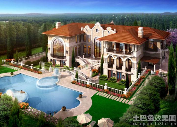 欧式豪华园林式别墅效果图图片