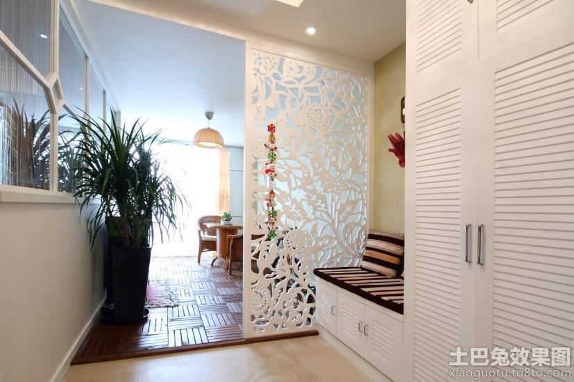 进门玄关镂空雕花隔断效果图
