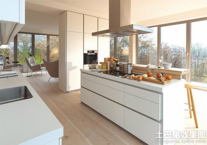 简约别墅一体式大厨房装修效果套图图片