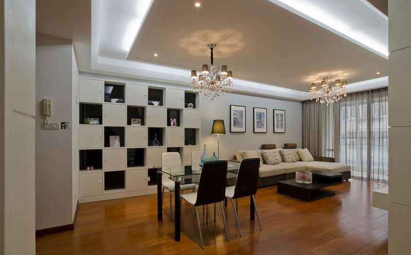 現代風格兩室一廳客廳餐廳一體裝修效果圖