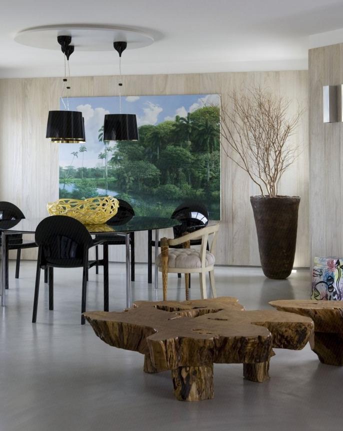 家居室内根雕茶桌效果图 - 装修效果图 - 九正家居网