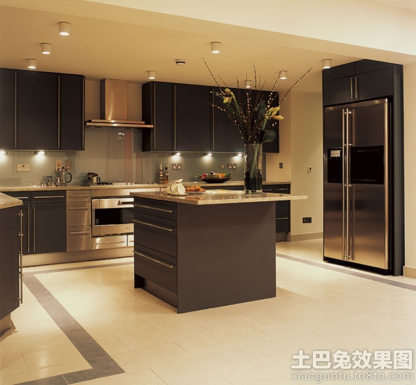 开放式厨房客厅地砖拼花效果图