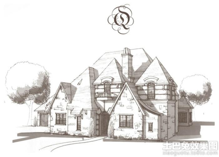 别墅外观手绘效果图 - 装修效果图 - 九正家居网