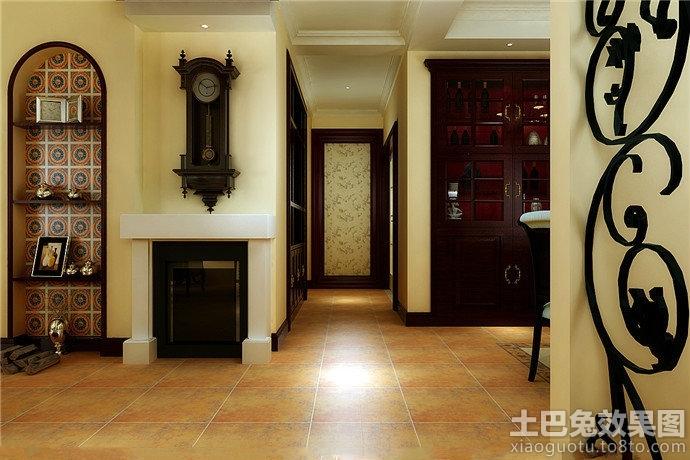 美式简约走廊尽头装修设计效果图图片