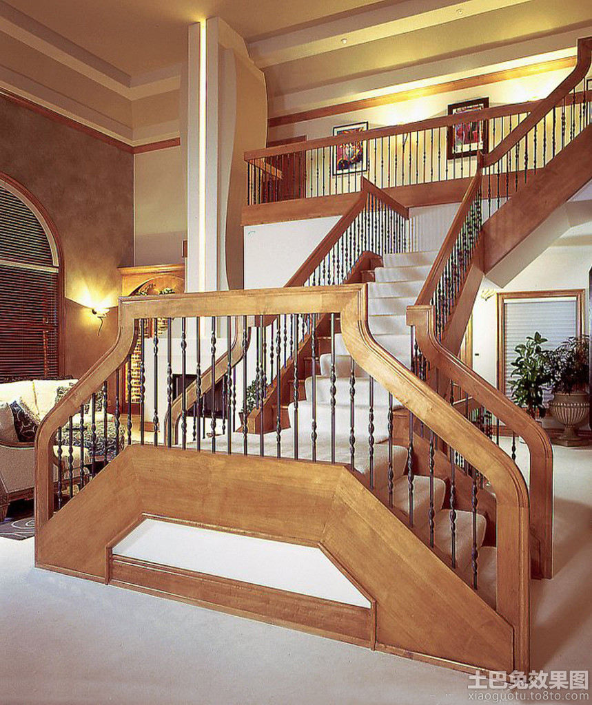 室内木楼梯设计效果图