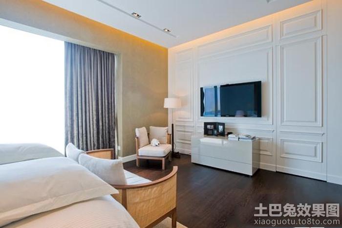 白色欧式卧室电视背景墙效果图
