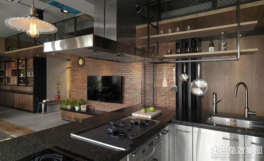 搭工业住宅风格红砖背景墙装修效果图高清图片