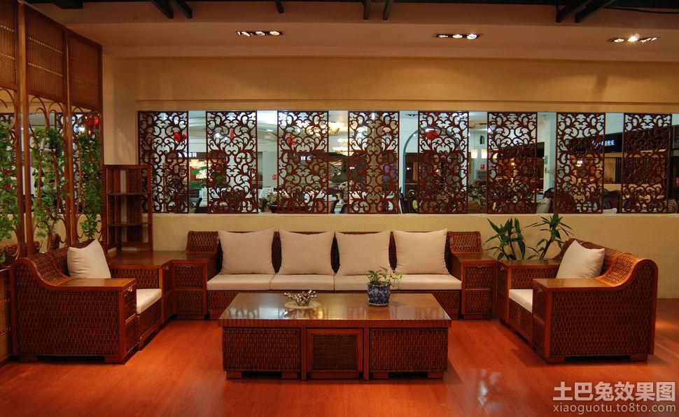 中式客厅藤沙发摆放图片大全