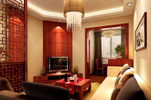 中式半圆形小客厅装修效果图片