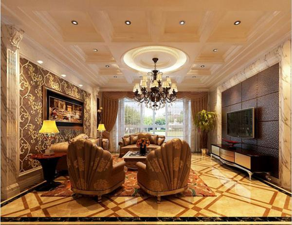 扇形环纹客厅装修图片 - 九正家居装修效果图