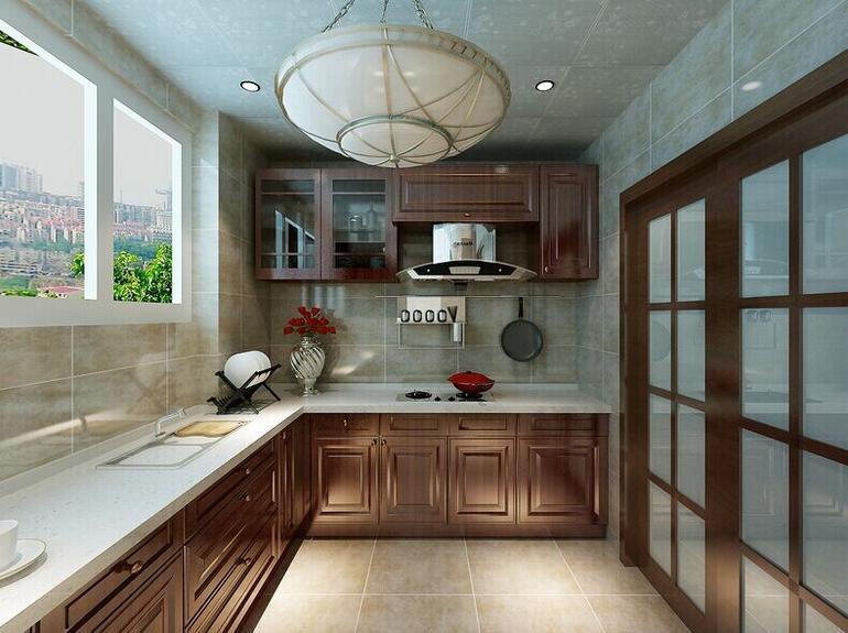中式古典厨房背景墙装修效果图