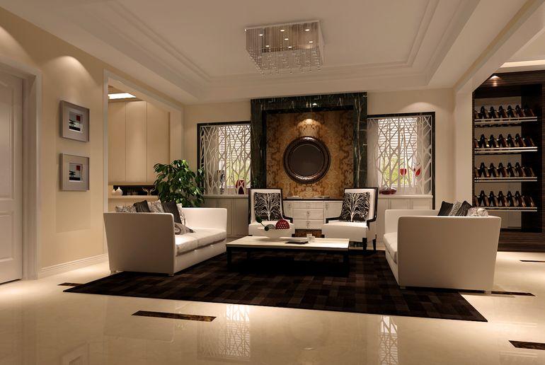 现代简约别墅客厅吊顶装修效果图欣赏