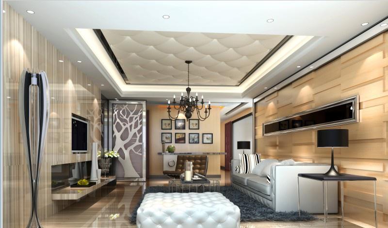 欧式客厅软包吊顶效果图 - 九正家居装修效果图图片