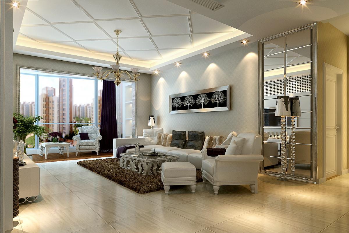客厅石膏板吊顶效果图 2012简欧客厅装修效果图