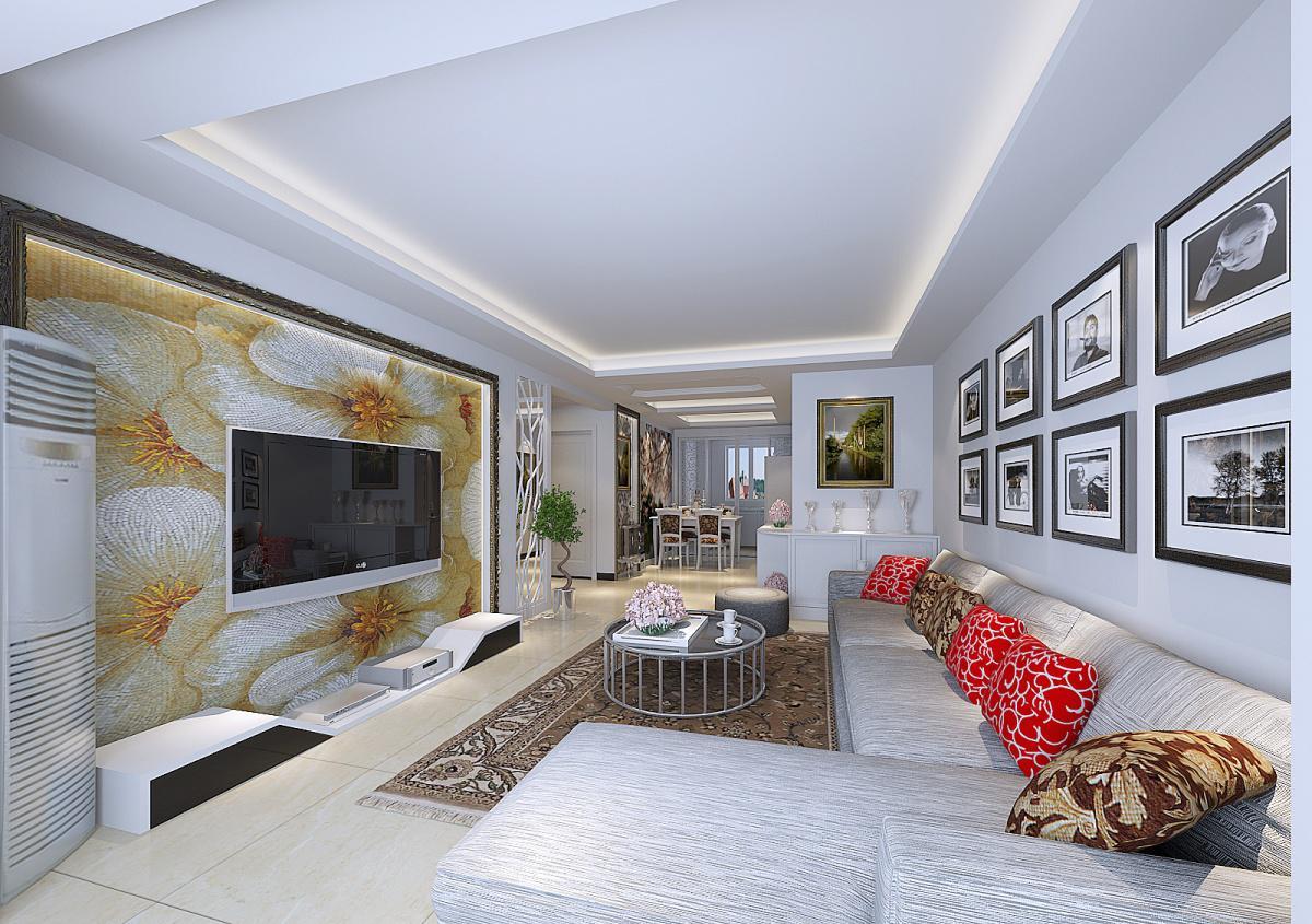 欧式三居客厅壁纸电视背景墙装修效果图