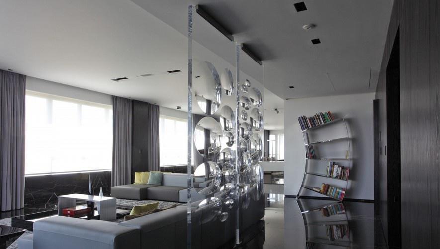 客厅沙发玻璃墙隔断装修效果图