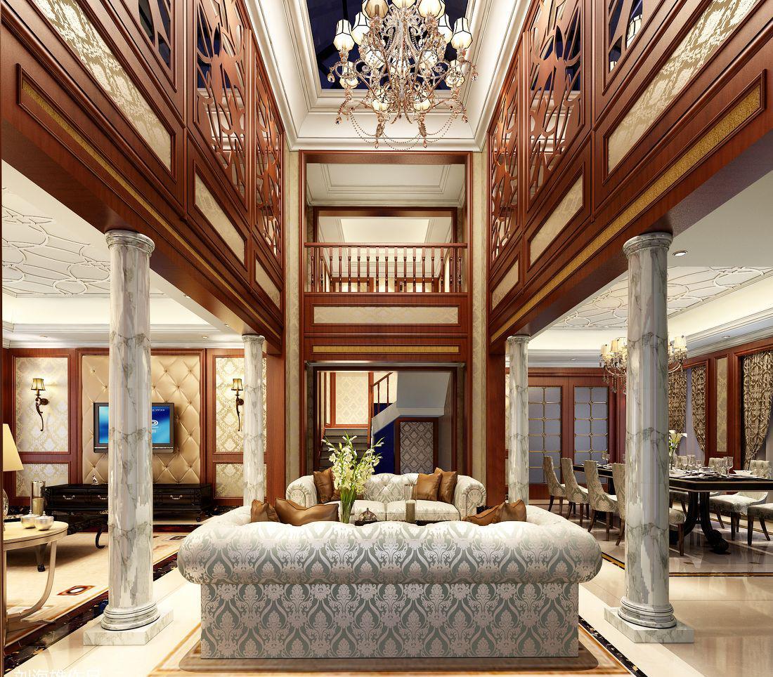 中式别墅客厅吊顶效果图