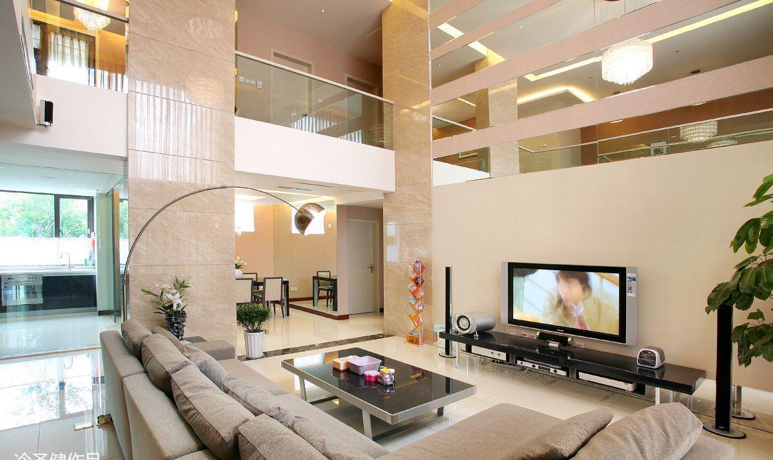 别墅客厅电视背景墙装修设计图
