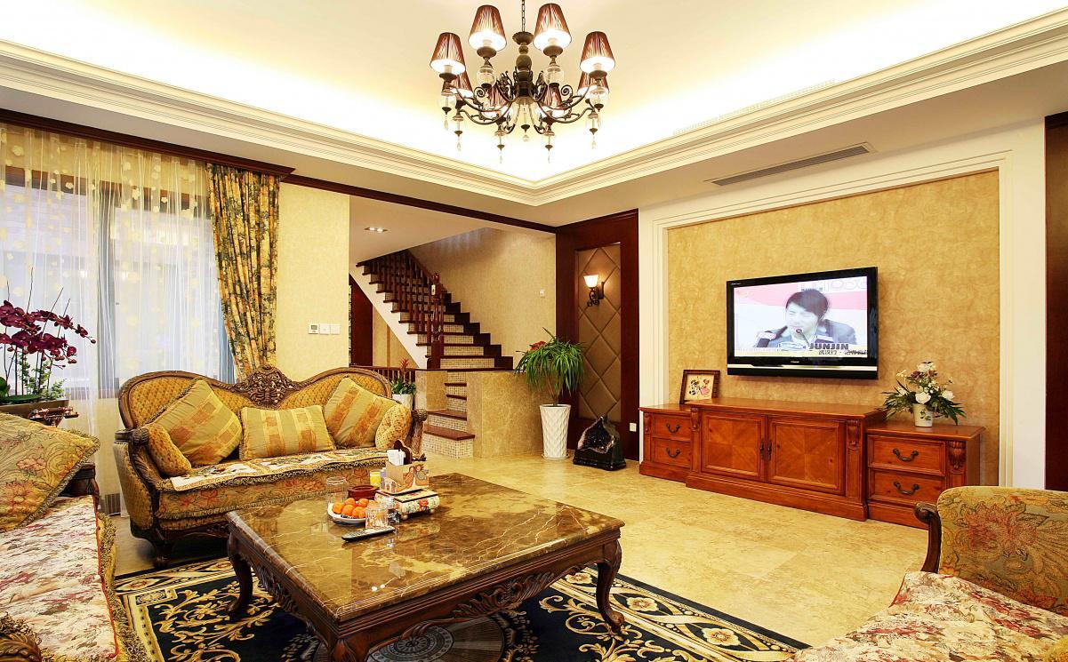 复式楼客厅电视背景墙装修图片 - 九正家居装修效果图图片