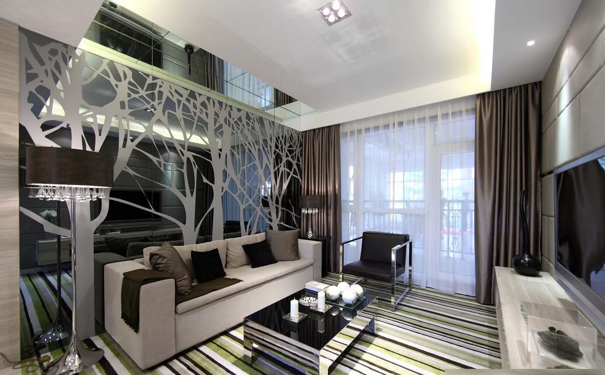 现代风格客厅沙发玻璃背景墙设计