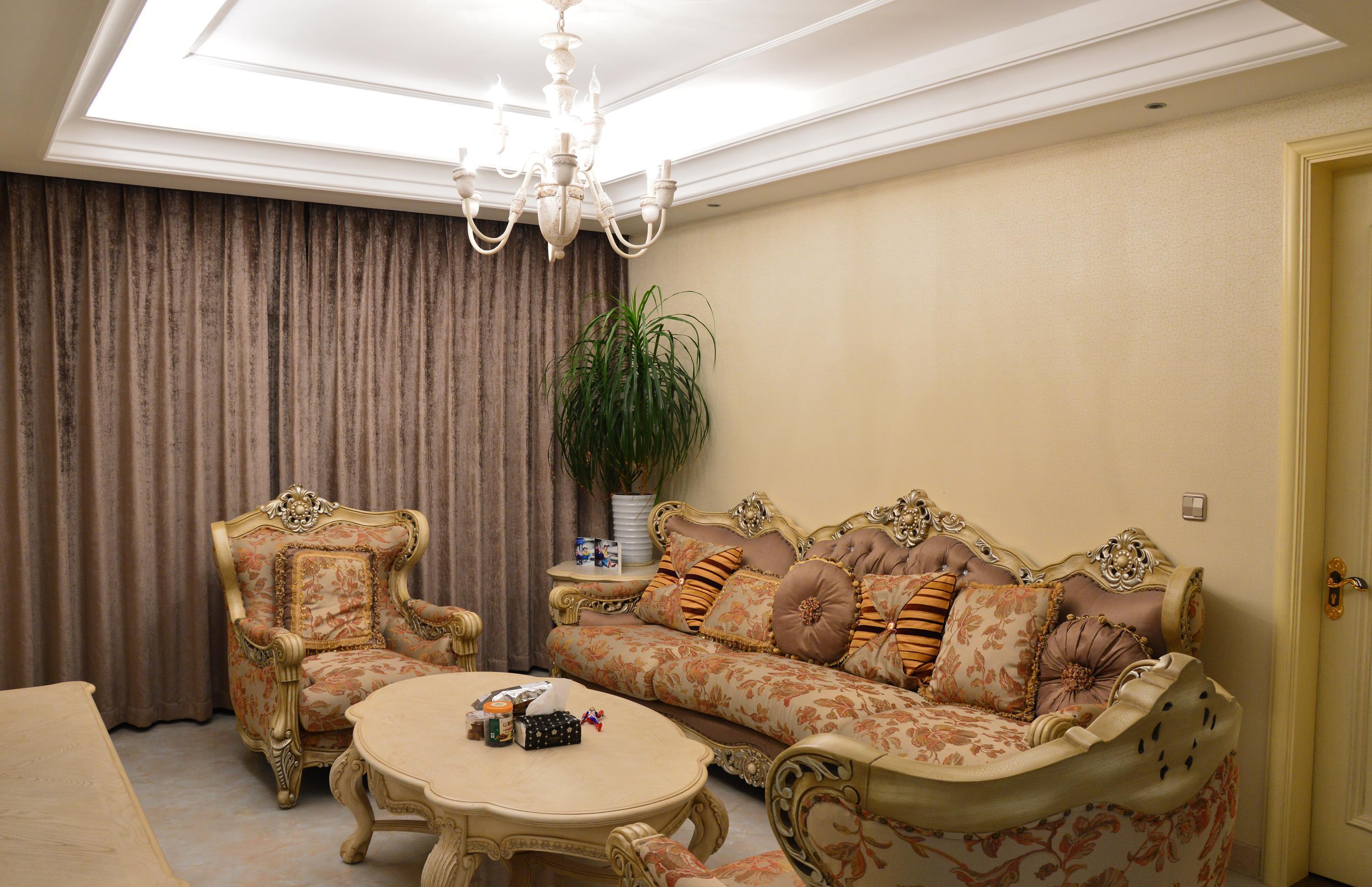 欧式田园风格小户型客厅装修效果图片图片