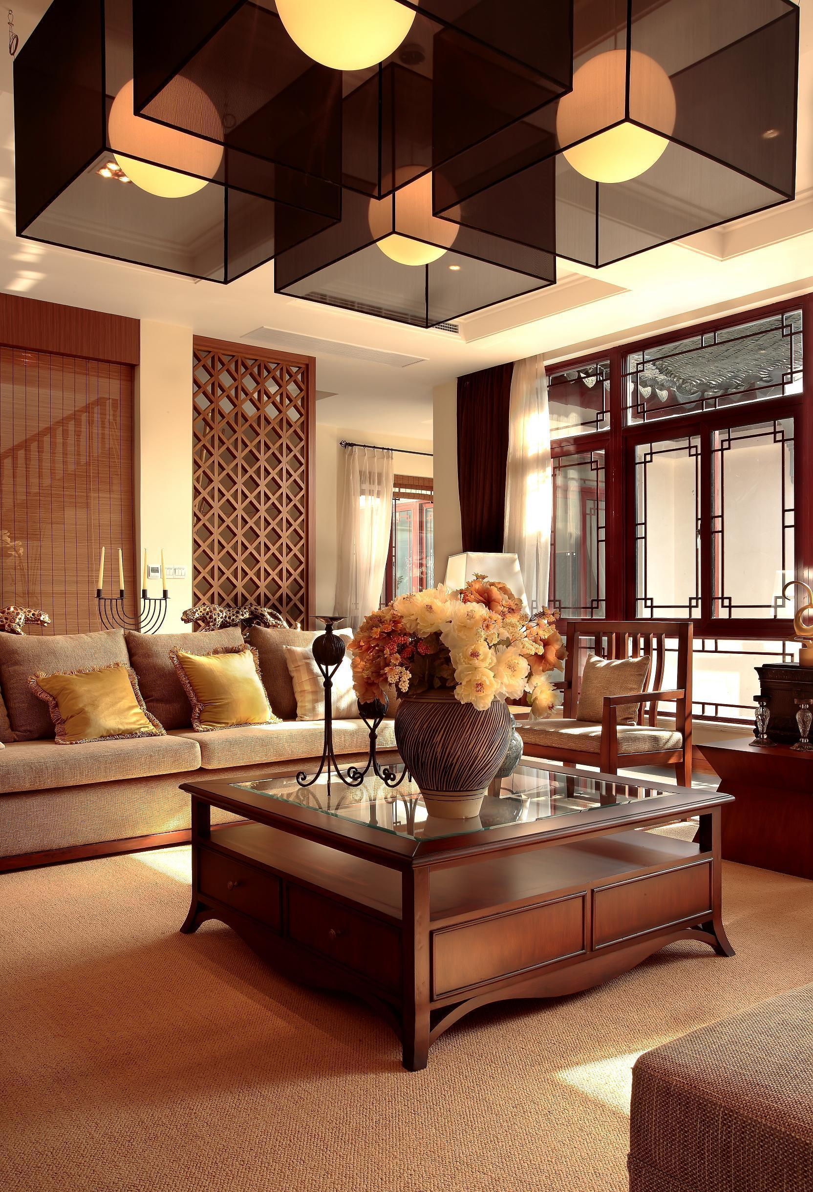中式混搭客厅吊顶效果图图片
