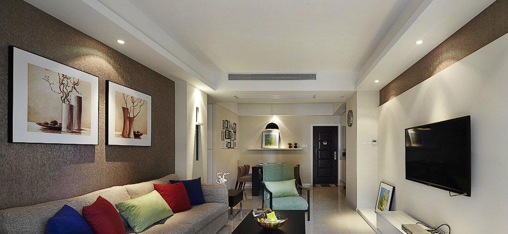 现代风格80平米两室一厅客厅装修效果图