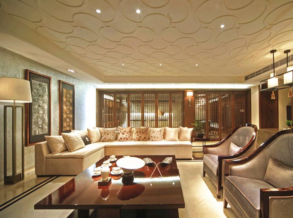 中式古典风格复式客厅吊顶装修效果图图片