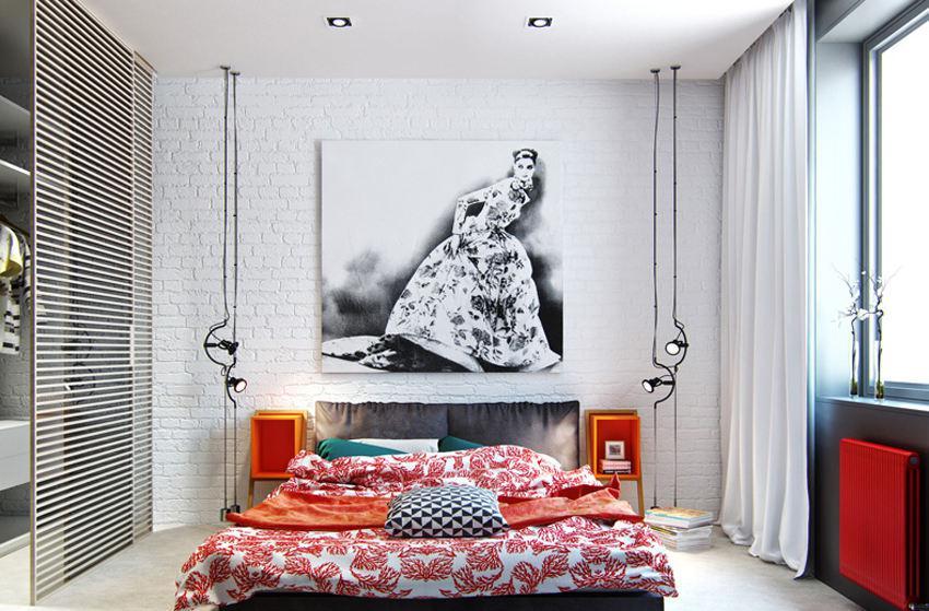 现代单身公寓卧室装修效果图片