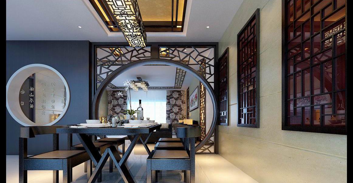 中式屏风隔断3d模型_中式餐厅屏风隔断装修图片