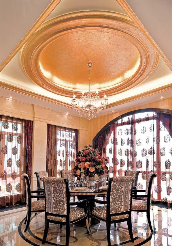 餐厅圆形吊顶装修效果图图片