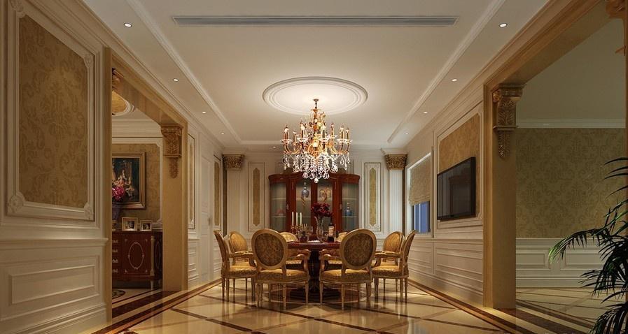 豪华奢侈的古典欧式风格餐厅装修效果图大全2012图片