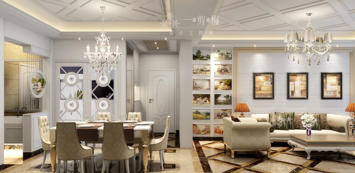 欧式客厅餐厅吊顶效果图 - 九正家居装修效果图图片