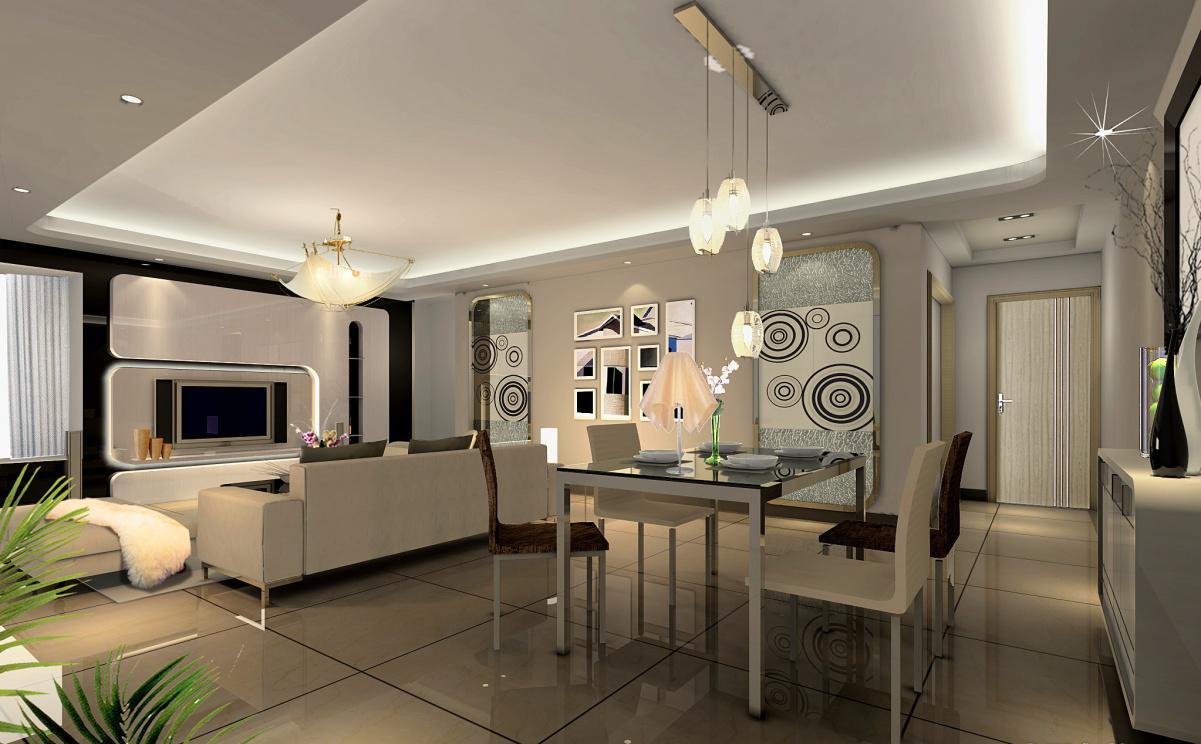 现代风格家庭客厅餐厅吊顶装修效果图片大全2013图片