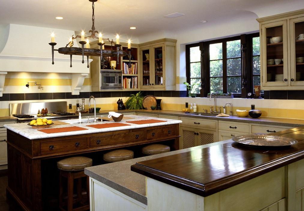 美式田园风格家具厨房整体橱柜效果图