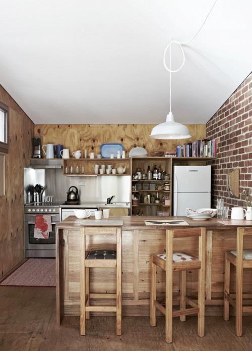 开放式厨房木质吧台装修效果图