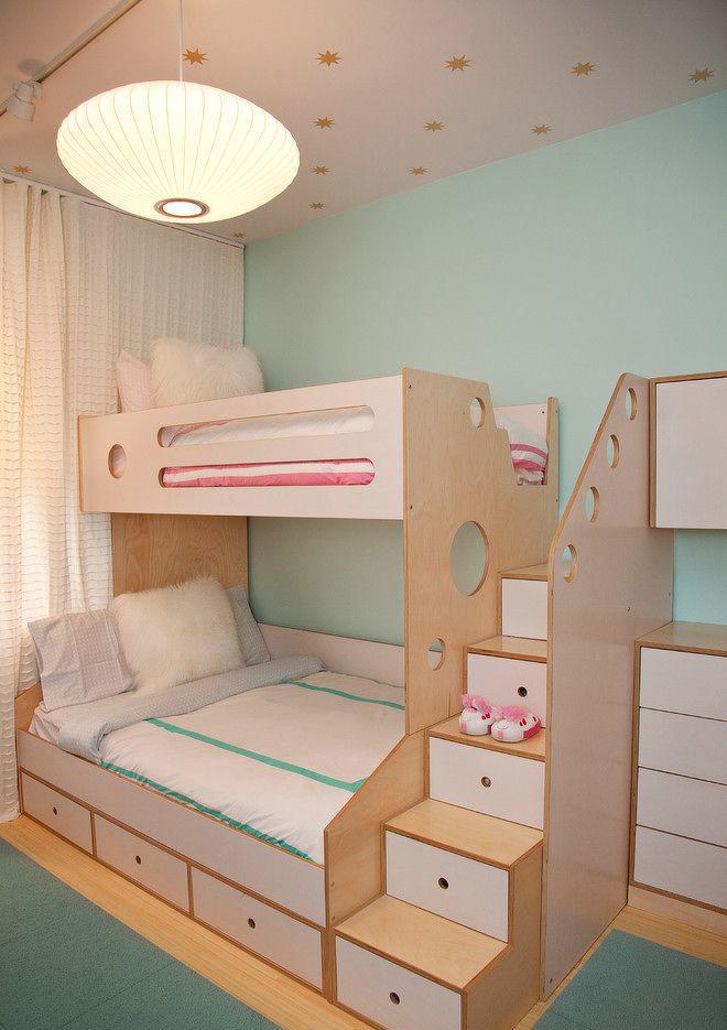 双人儿童房高低床设计图片欣赏