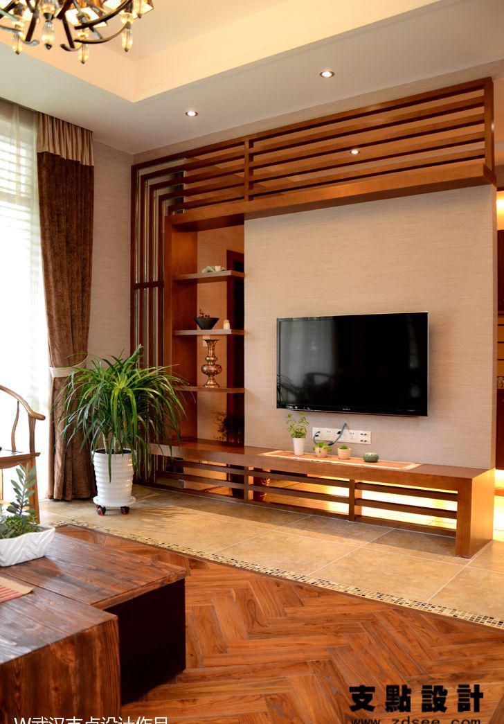 现代风格客厅电视机背景墙设计效果图