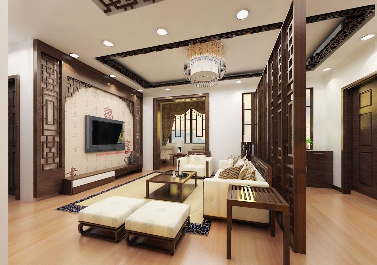 最新中式客厅屏风隔断装修效果图