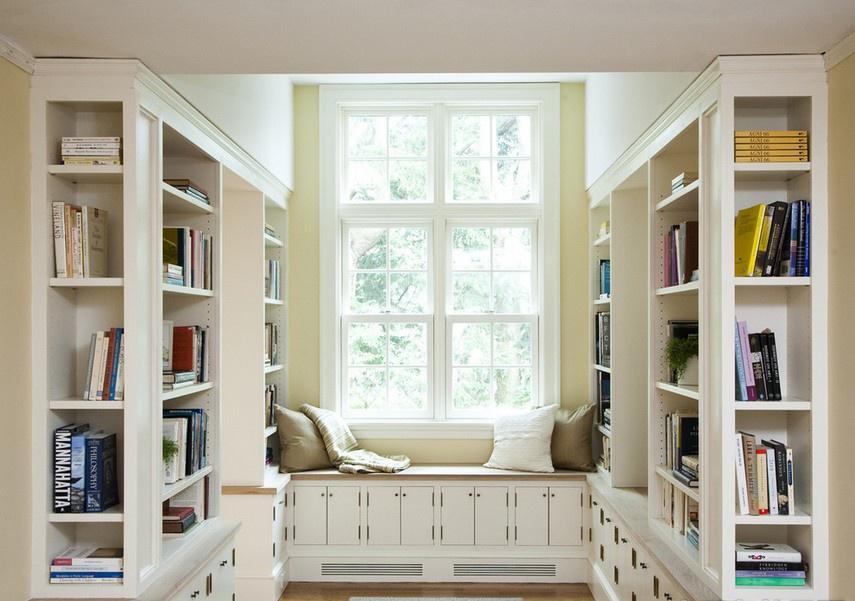 飘窗改书桌 美式风格书房飘窗效果图 - 九正家居装修
