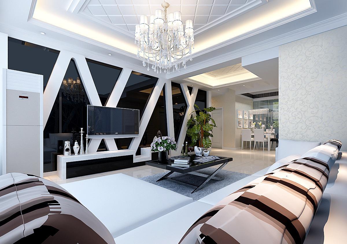 现代三居客厅电视背景墙装修设计效果图片