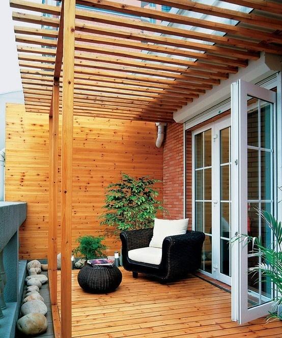 现代原木调三居室阳台装修效果图大全2015图片