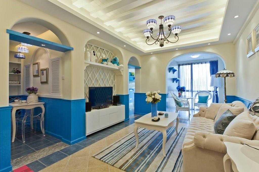 地中海别墅客厅电视背景墙装修效果图